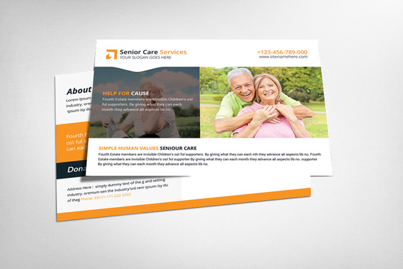 Elderly Care Postcard Template