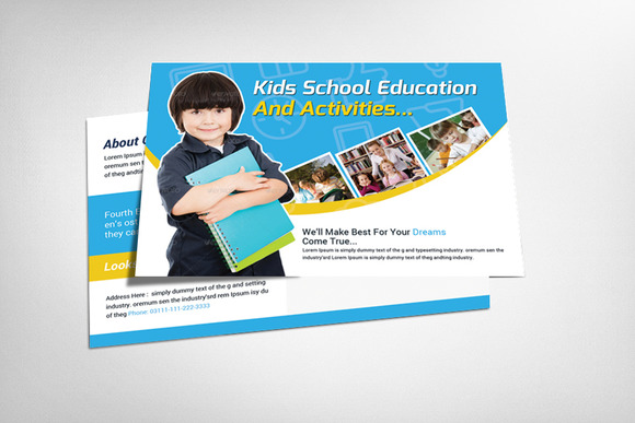 Kids Education Postcard Template