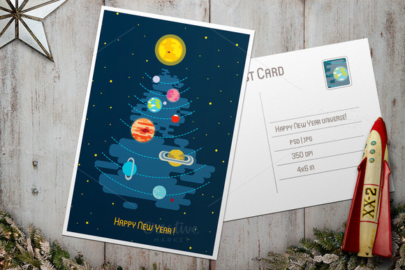 Post Card Happy New Year Universe