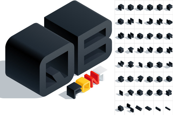 Vector 3D Isometric Black Letters
