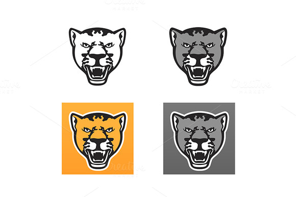 Panther Head Vector Set
