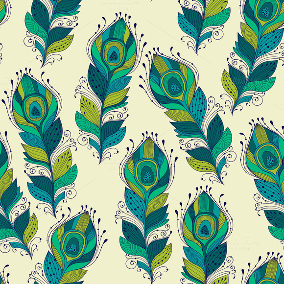Vector Seamless Pattern With Peacock