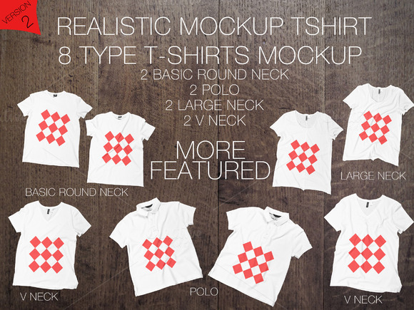 8 Realistic T-shirts Mockup