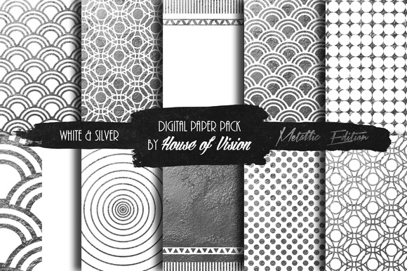 Elegant White Silver Paper Pack