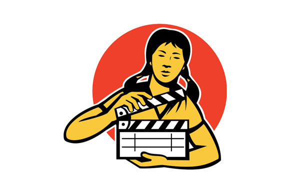 Asiian Woman Girl With Movie Clapboa