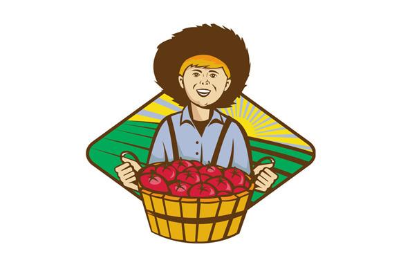 Farmer Boy Straw Hat Tomato Harvest