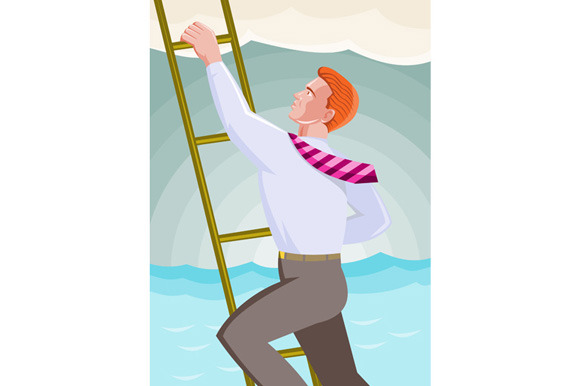 Businessman Officer Worker Climbing