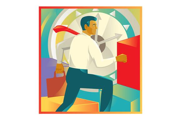 Businessman Officer Worker Clock