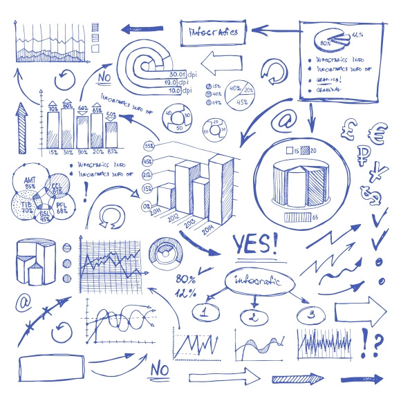 Doodle Blue Business Charts