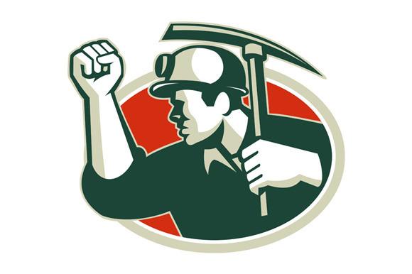 Coal Miner Pump Fist With Pick Ax Re