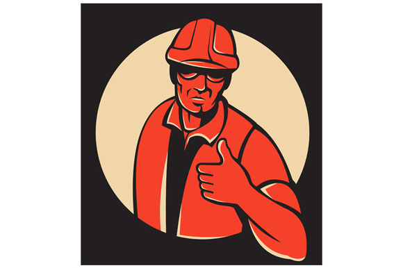 Construction Worker Thumb Up Retro