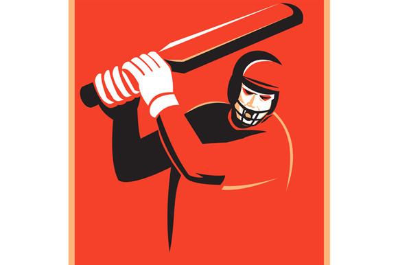 Cricket Player Batsman Batting Retro