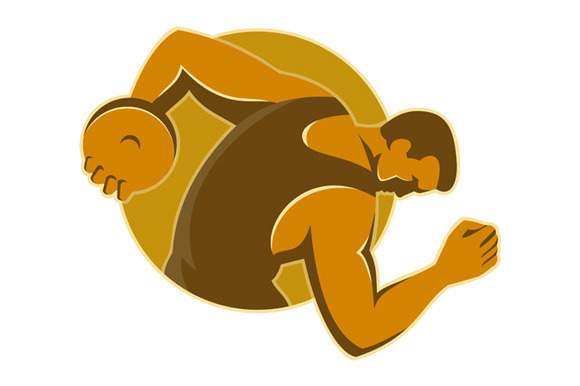 Discus Thrower Throwing Side Retro S