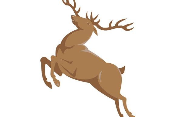 Elk Stag Deer Jumping Retro Style