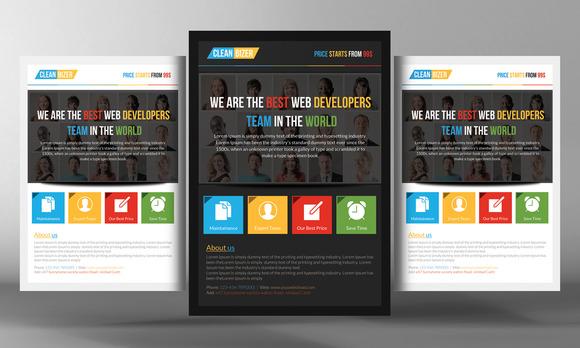 Flat Website Design Flyer Template