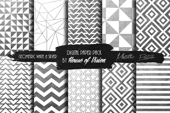 Geometric White Silver Paper Pack