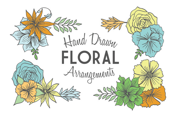Hand Drawn Floral Arrangements