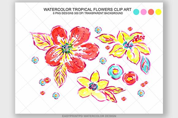 Watercolor Tropical Flowers Clip Art