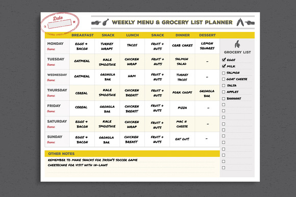 Menu Grocery List Planner Template