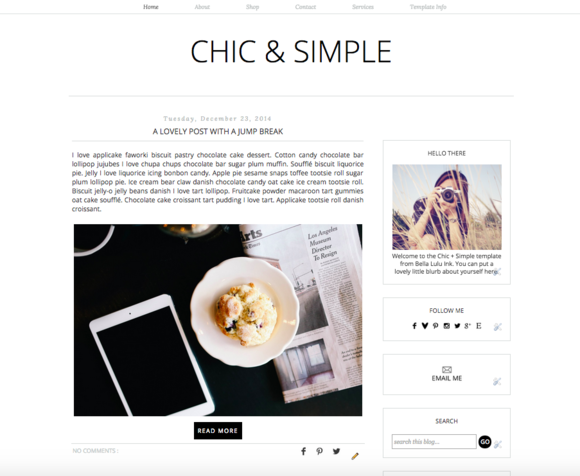 Chic Simple Premade Blogger Theme