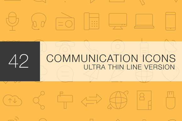 Communication Thin Line Icon Set