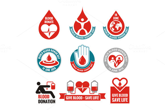 Blood Donation Vector Logo Badges
