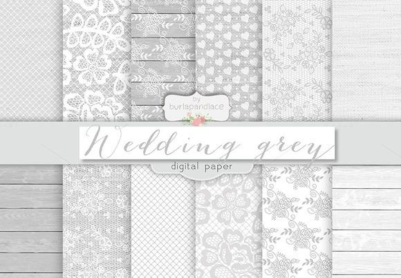 Wedding Rustic Grey Digital Papers