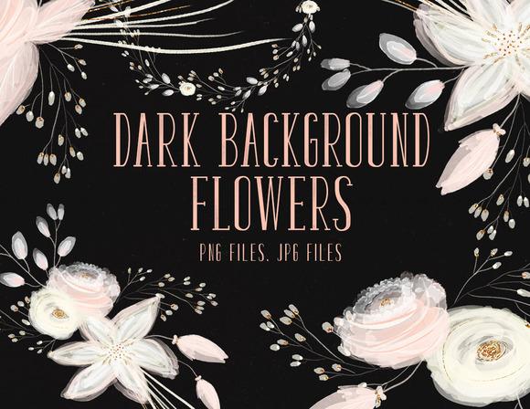 Dark Background Flowers