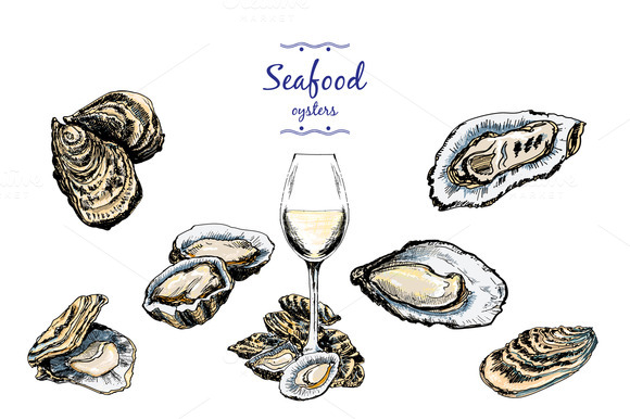Oysters Set Of Graphic Illustration