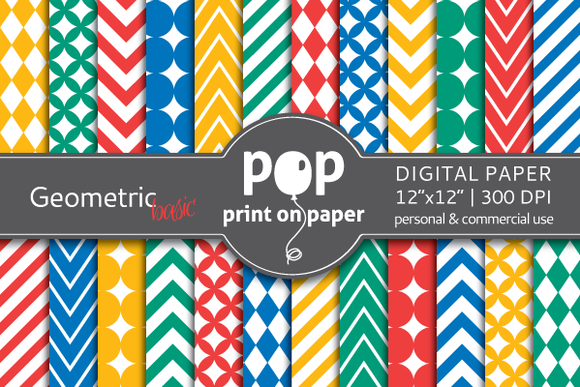 Geometric Basic Colors Digital Paper