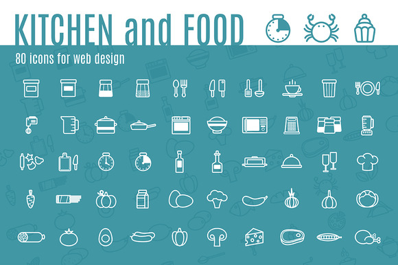 80 Icons KITCHEN And FOOD Pattern