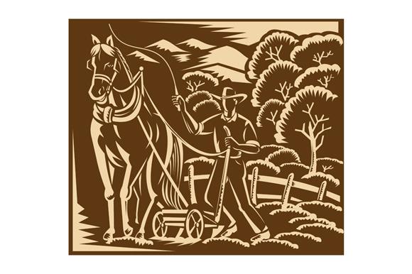 Farmer Farming Plowing With Farm Hor
