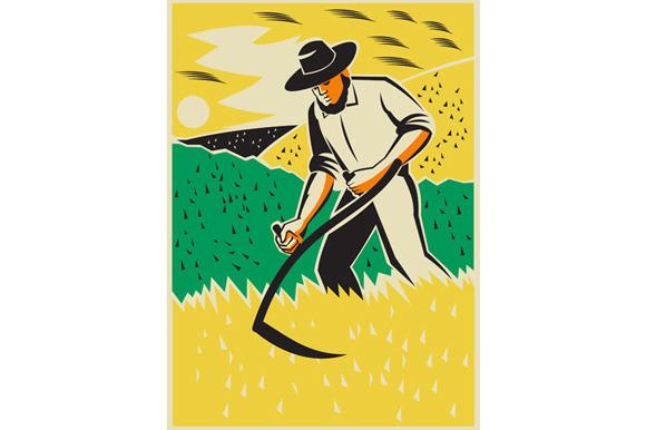 Farmer With Scythe Harvesting Field