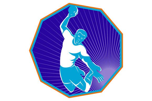Handball Player Jumping Throwing Ba