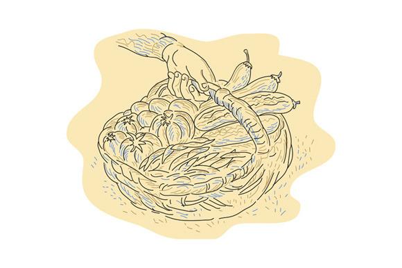 Hand Holding Basket Full Harvest Cro