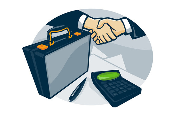 Business Handshake Deal Briefcase Re
