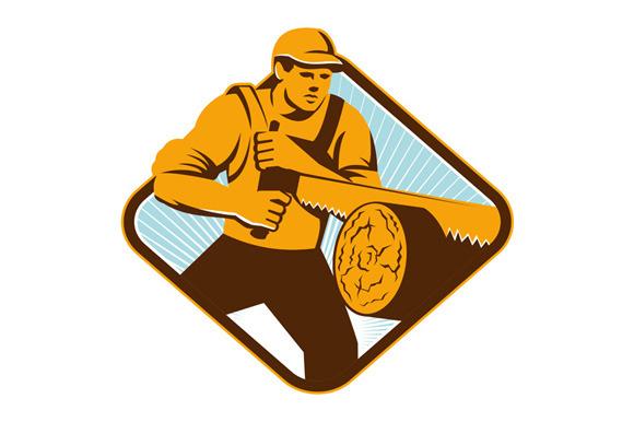 Lumberjack Logger Forrester Sawing