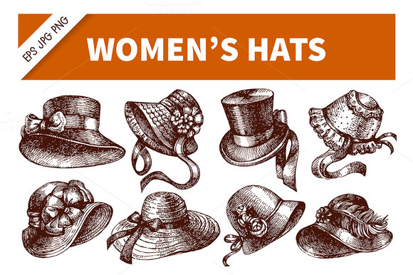 Hand Drawn Vintage Women S Hats Set