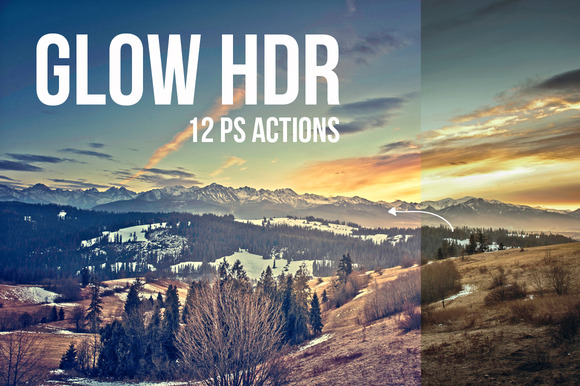 Glow HDR 12 PS Actions