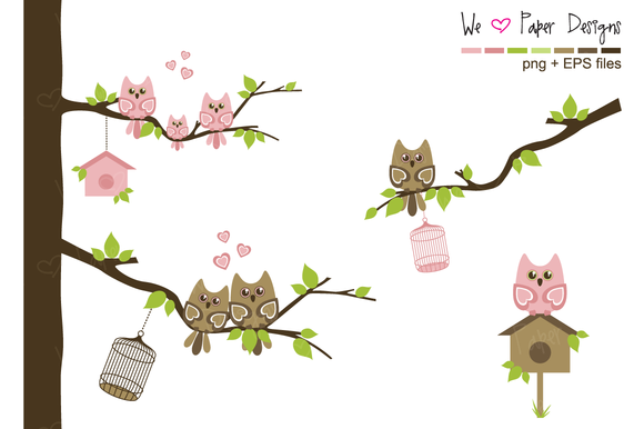 Pink And Brown Owl Family Clip Art