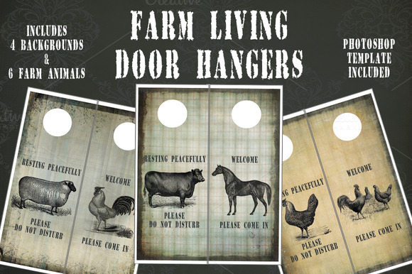 Farm Living Door Hangers Templates