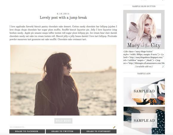 Premade Blogger Template Macy