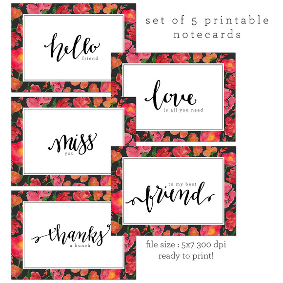 5 Printable Cards
