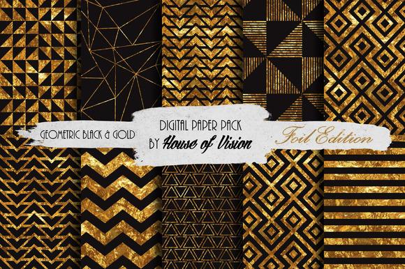Geometric Black Gold Paper Pack