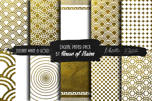 Elegant White Gold Paper Pack