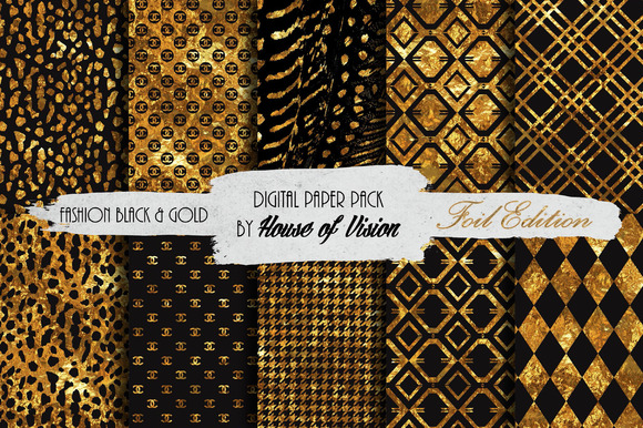 Fashion Black Gold Paper Pack