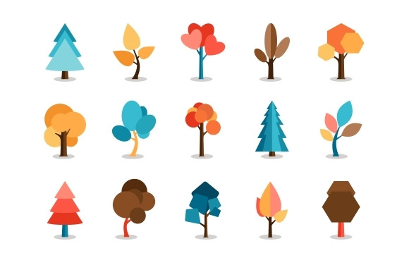 Vector Colored Tree Icons Set