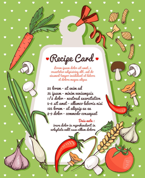 Recipe Card With Vegetables Pasta