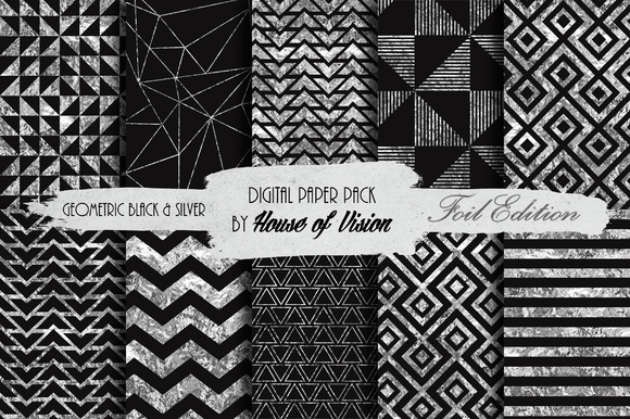 Geometric Black Silver Paper Pack