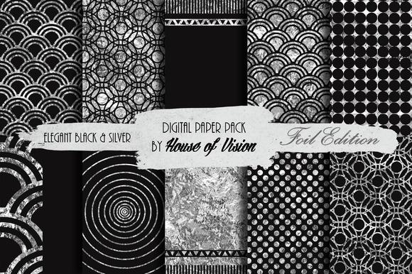 Elegant Black Silver Paper Pack